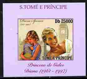 St Thomas & Prince Islands 2010 Diana Princess of Wales #4 with Big Ben individual imperf deluxe sheet unmounted mint. Note this item is privately produced and is offered purely on its thematic appeal