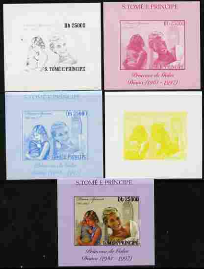 St Thomas & Prince Islands 2010 Diana Princess of Wales #4 with Big Ben individual deluxe sheet - the set of 5 imperf progressive proofs comprising the 4 individual colou...