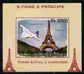 St Thomas & Prince Islands 2010 Eiffel Tower & Concorde #1 individual imperf deluxe sheet unmounted mint. Note this item is privately produced and is offered purely on its thematic appeal