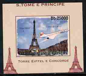 St Thomas & Prince Islands 2010 Eiffel Tower & Concorde #2 individual imperf deluxe sheet unmounted mint. Note this item is privately produced and is offered purely on its thematic appeal, stamps on , stamps on  stamps on eiffel tower, stamps on  stamps on concorde, stamps on  stamps on aviation