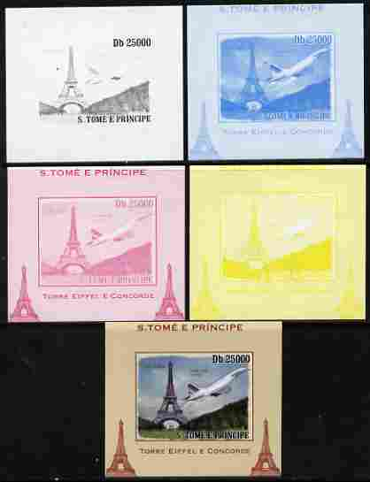 St Thomas & Prince Islands 2010 Eiffel Tower & Concorde #3 individual deluxe sheet - the set of 5 imperf progressive proofs comprising the 4 individual colours plus all 4-colour composite, unmounted mint