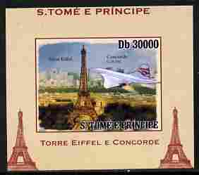 St Thomas & Prince Islands 2010 Eiffel Tower & Concorde #4 individual imperf deluxe sheet unmounted mint. Note this item is privately produced and is offered purely on its thematic appeal