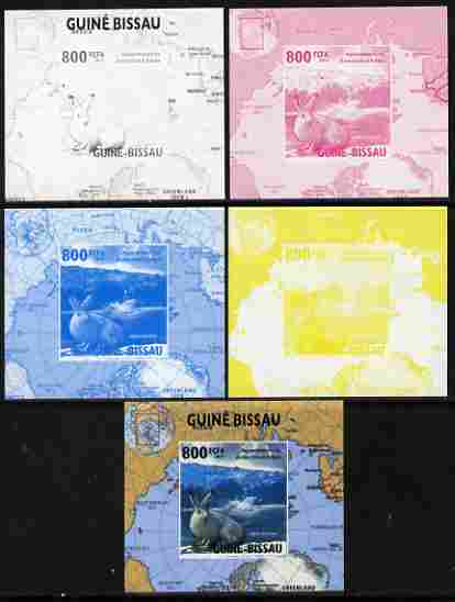 Guinea - Bissau 2010 Global Warming #1 - Rabbit individual deluxe sheet - the set of 5 imperf progressive proofs comprising the 4 individual colours plus all 4-colour composite, unmounted mint