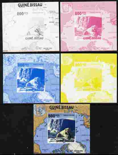 Guinea - Bissau 2010 Global Warming #2 - Polar Bear individual deluxe sheet - the set of 5 imperf progressive proofs comprising the 4 individual colours plus all 4-colour composite, unmounted mint