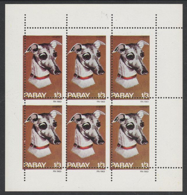 Pabay 1969 Dogs 1s3d (Whippet) complete perf sheetlet of 6 with perforations misplaced both horizontally and vertically, unmounted mint