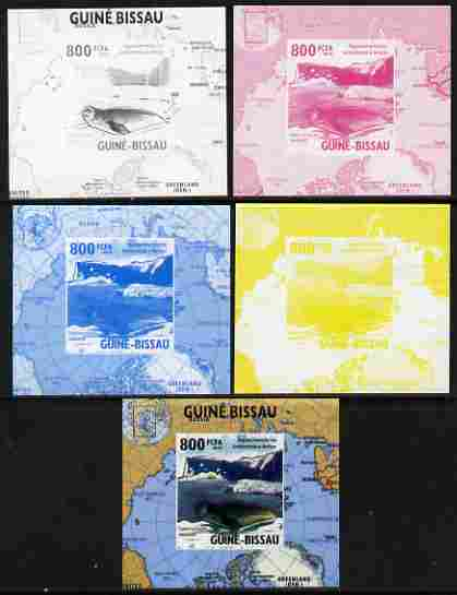 Guinea - Bissau 2010 Global Warming #3 - Weddell Seal individual deluxe sheet - the set of 5 imperf progressive proofs comprising the 4 individual colours plus all 4-colour composite, unmounted mint