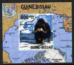 Guinea - Bissau 2010 Global Warming #4 - Muskox individual imperf deluxe sheet unmounted mint. Note this item is privately produced and is offered purely on its thematic appeal