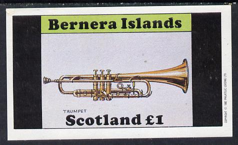 Bernera 1982 Musical Instruments (Trumpet) imperf souvenir sheet (�1 value) unmounted mint