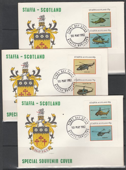 Staffa 1982 Helicopters perf set of 6 values on 3 special covers with first day cancels