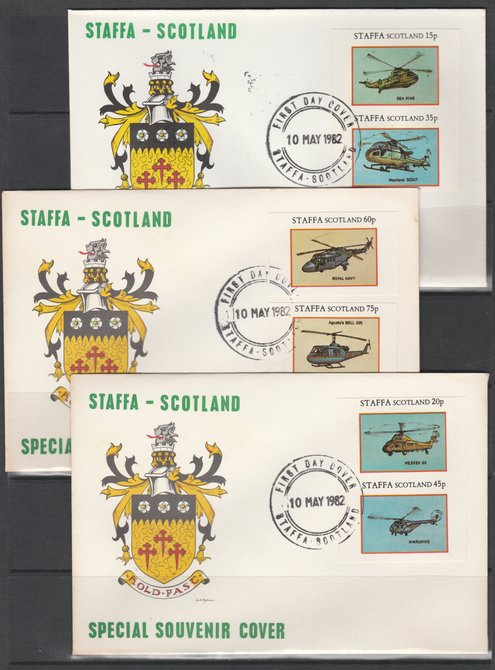 Staffa 1982 Helicopters imperf set of 6 values on 3 special covers with first day cancels
