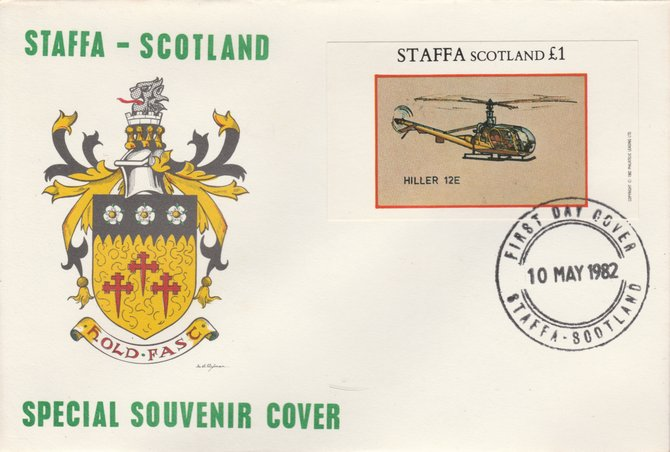 Staffa 1982 Helicopters - Hiller 12E imperf souvenir sheet on special cover with first day cancel