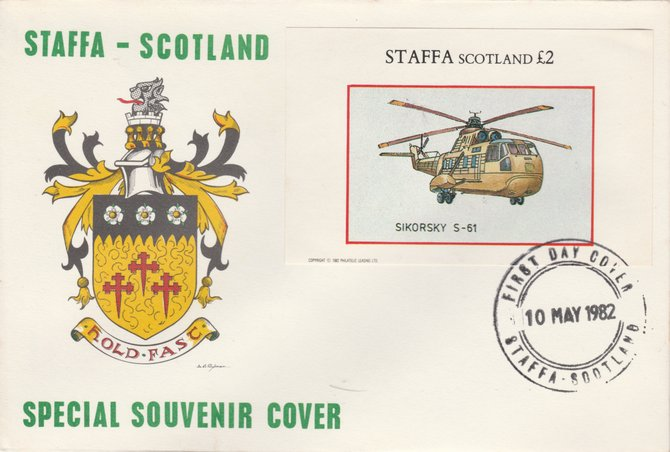 Staffa 1982 Helicopters - Sikorsky S-61 imperf deluxe sheet on special cover with first day cancel