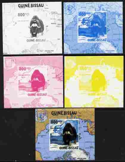 Guinea - Bissau 2010 Global Warming #4 - Muskox individual deluxe sheet - the set of 5 imperf progressive proofs comprising the 4 individual colours plus all 4-colour composite, unmounted mint
