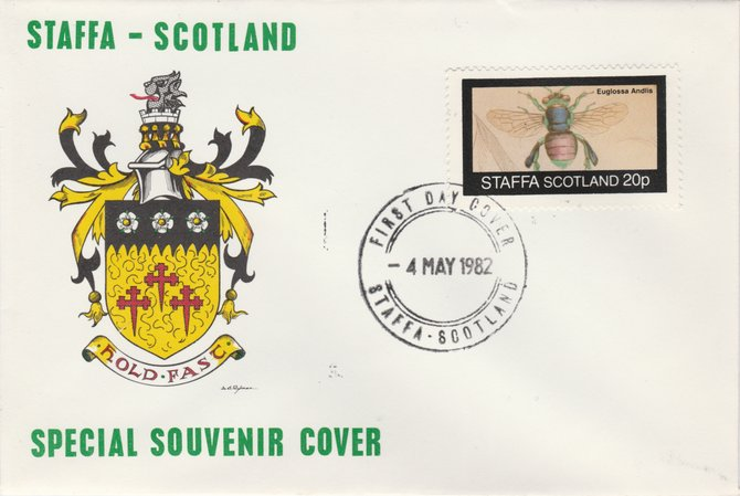 Staffa 1982 Bees #2 (20p perf value) on special cover with first day cancel