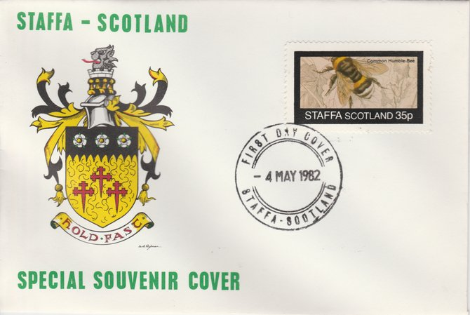 Staffa 1982 Bees #3 (35p perf value) on special cover with first day cancel