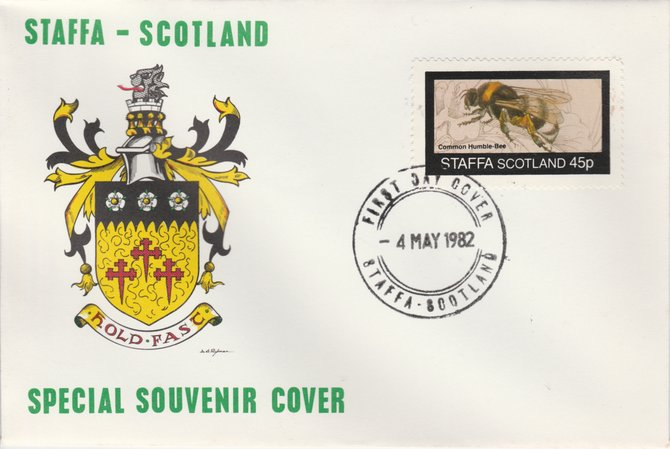 Staffa 1982 Bees #4 (45p perf value) on special cover with first day cancel