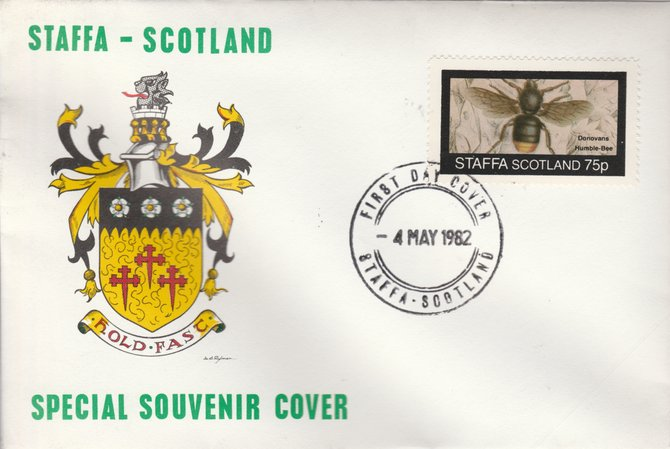 Staffa 1982 Bees #6 (75p perf value) on special cover with first day cancel