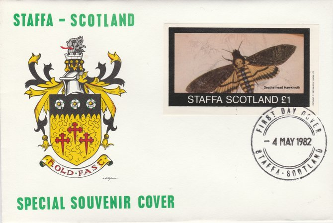 Staffa 1982 Bees - Hawkmoth (\A31 imperf souvenir sheet) on special cover with first day cancel
