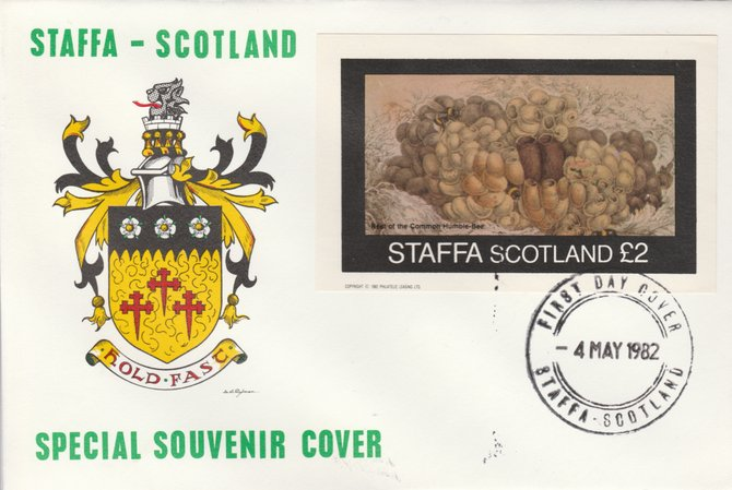 Staffa 1982 Bees - Bumble Bee nest (\A32 imperf deluxe sheet) on special cover with first day cancel