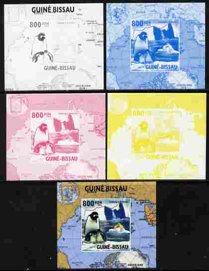 Guinea - Bissau 2010 Global Warming #5 - Penguin individual deluxe sheet - the set of 5 imperf progressive proofs comprising the 4 individual colours plus all 4-colour composite, unmounted mint