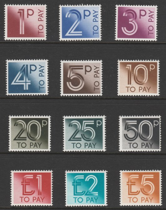 GB 1982 Postage Due complete set of 12 (1p to \A35) unmounted mint and offered at below face value SG D90-D101