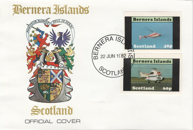 Bernera 1982 Helicopters #2 imperf set of 2 on special cover with first day cancel