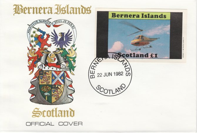 Bernera 1982 Helicopters #2 imperf souvenir sheet (\A31 value) on special cover with first day cancel