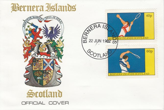 Bernera 1982 Tennis perf  set of 2 values (40p & 60p) on special cover with first day cancel