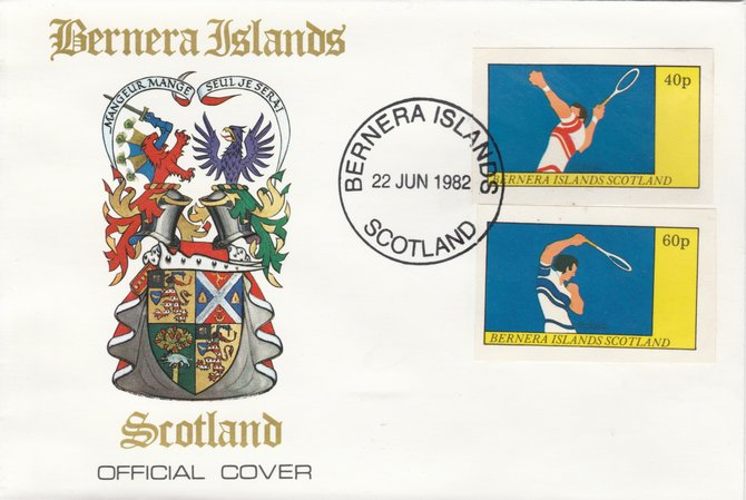 Bernera 1982 Tennis imperf  set of 2 values (40p & 60p) on special cover with first day cancel