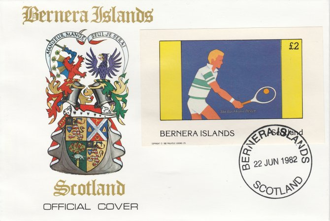 Bernera 1982 Tennis imperf deluxe sheet (\A32 value) on special cover with first day cancel