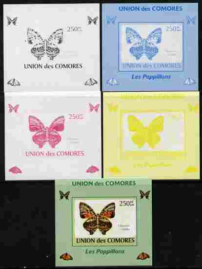 Comoro Islands 2009 Butterflies #2 individual deluxe sheet - the set of 5 imperf progressive proofs comprising the 4 individual colours plus all 4-colour composite, unmounted mint