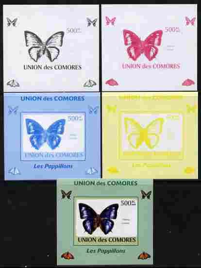 Comoro Islands 2009 Butterflies #3 individual deluxe sheet - the set of 5 imperf progressive proofs comprising the 4 individual colours plus all 4-colour composite, unmounted mint