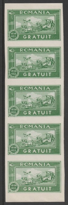 Romania 1933 Free Postage imperf strip of 5 unmounted mint SG F1286