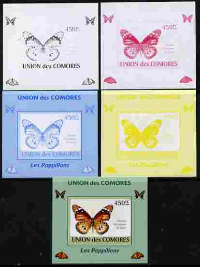Comoro Islands 2009 Butterflies #4 individual deluxe sheet - the set of 5 imperf progressive proofs comprising the 4 individual colours plus all 4-colour composite, unmounted mint