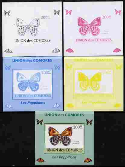 Comoro Islands 2009 Butterflies #5 individual deluxe sheet - the set of 5 imperf progressive proofs comprising the 4 individual colours plus all 4-colour composite, unmounted mint, stamps on butterflies