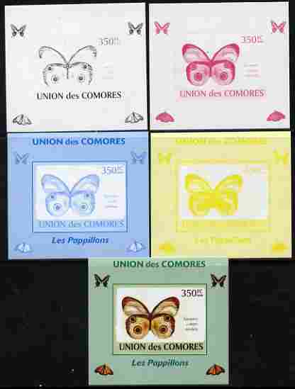 Comoro Islands 2009 Butterflies #6 individual deluxe sheet - the set of 5 imperf progressive proofs comprising the 4 individual colours plus all 4-colour composite, unmounted mint