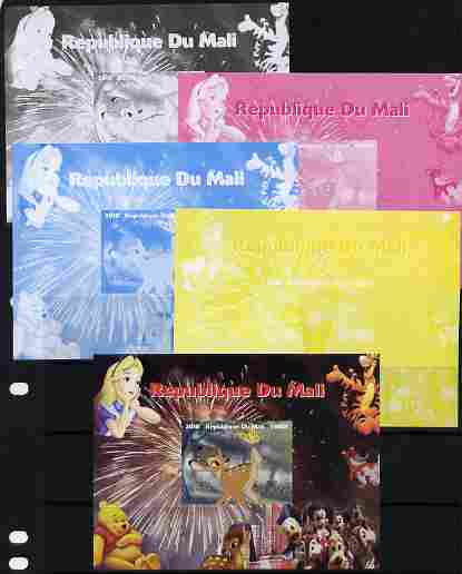 Mali 2010 Disney Characters with Olympic Rings #4 s/sheet - the set of 5 imperf progressive proofs comprising the 4 individual colours plus all 4-colour composite, unmounted mint
