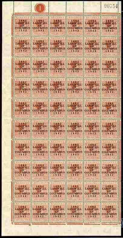 Bahamas 1942 KG6 Landfall of Columbus 1.5d red-brown complete left pane of 60 including plate varieties R7/2 (Broken H), R10/1 (Curved E), R10/6 (Damaged H & C) plus overprint varieties incl R10/2 (Flaw in O) etc, a few split perfs otherwise fine unmounted mint