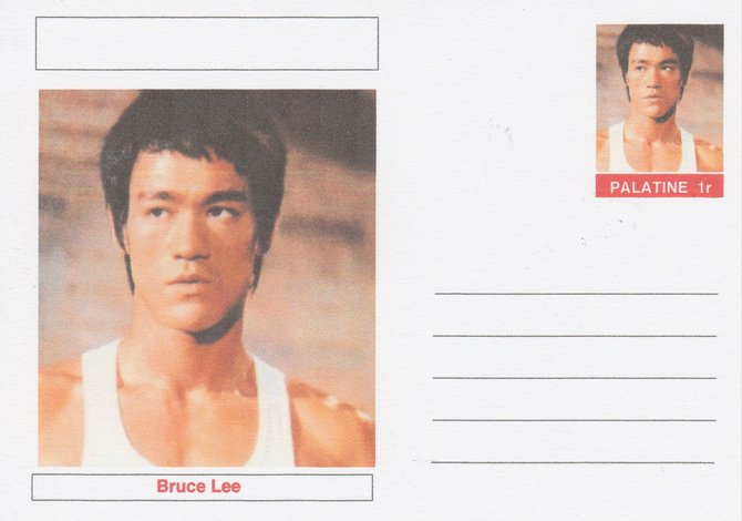 Palatine (Fantasy) Personalities - Bruce Lee (Martial arts actor) postal stationery card unused and fine