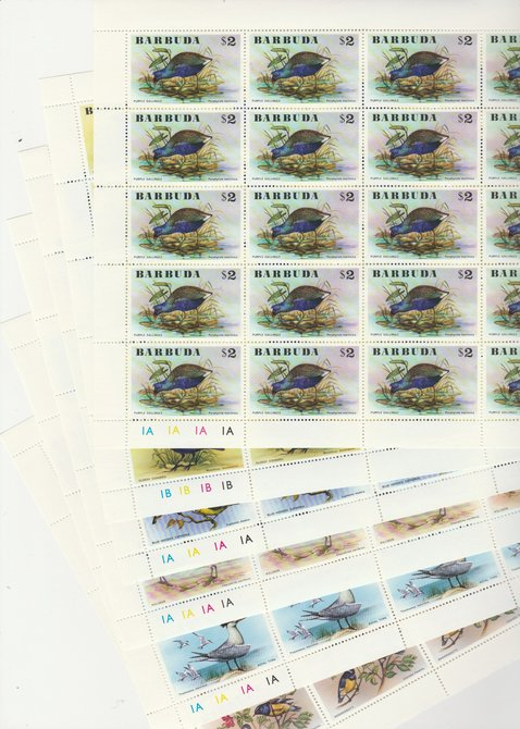 Barbuda 1976 Birds set of 6 in complete sheets of 25, superb unmounted mint, SG 262-7
