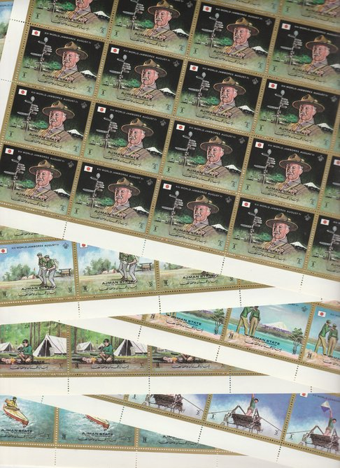 Ajman 1971 Scouts perf set of 6 in complete sheets of 25, superb unmounted mint, Mi 1047-52