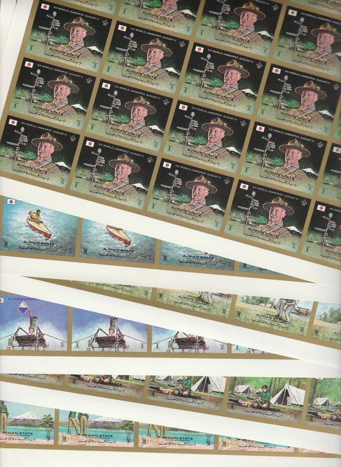 Ajman 1971 Scouts imperf set of 6 in complete sheets of 25, superb unmounted mint, Mi 1047-52B