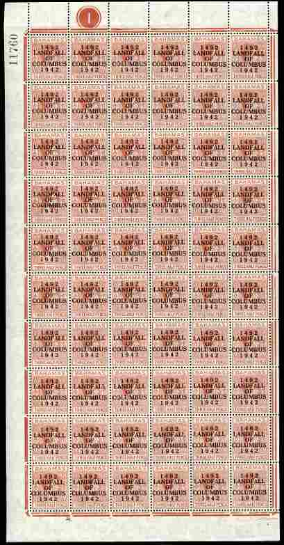 Bahamas 1942 KG6 Landfall of Columbus 1.5d red-brown complete left pane of 60 including plate varieties R7/2 (Broken H), R10/1 (Curved E), R10/6 (Damaged H & C) plus over...