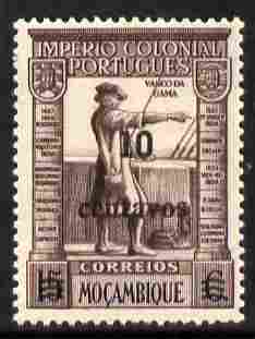Mozambique 1946 Vasco da Gama 10c on 15c brown-purple & black unmounted mint SG387