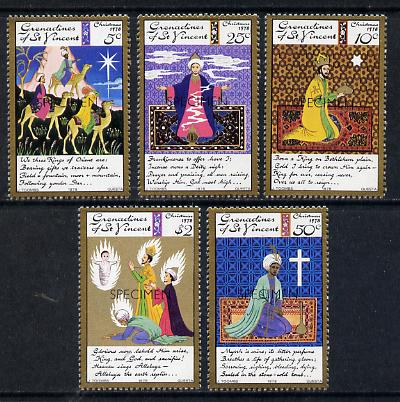 St Vincent - Grenadines 1978 Christmas (We Three Kings) set of 5 opt'd Specimen unmounted mint, as SG 139-43