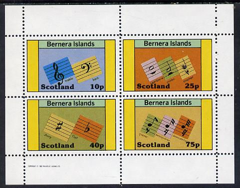 Bernera 1982 Musical Notes perf set of 4 values unmounted mint