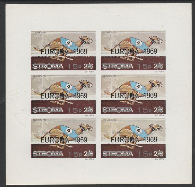 Stroma 1971 Dogs 15p on 2s6d (Greyhound)  overprinted