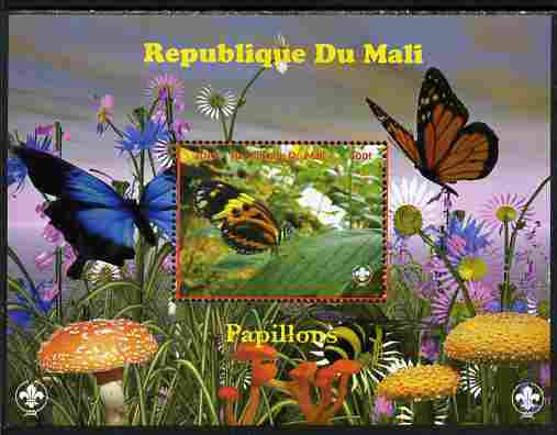 Mali 2010 Butterfles #2 perf s/sheet with Fungi & Scouts Logo unmounted mint. Note this item is privately produced and is offered purely on its thematic appeal