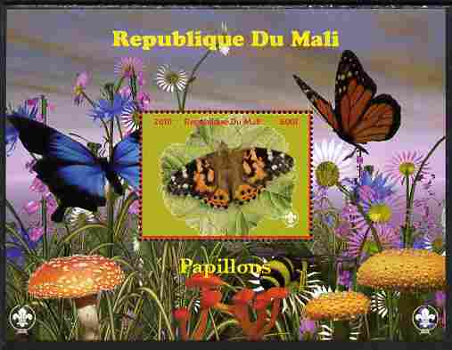 Mali 2010 Butterfles #4 perf s/sheet with Fungi & Scouts Logo unmounted mint. Note this item is privately produced and is offered purely on its thematic appeal
