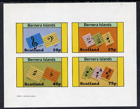Bernera 1982 Musical Notes imperf set of 4 values unmounted mint